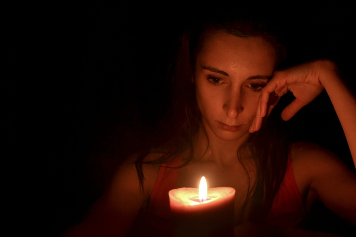 self-portrait by candlelight