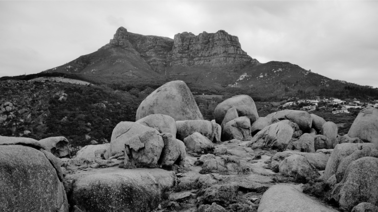 Western Cape, South Africa, black and white