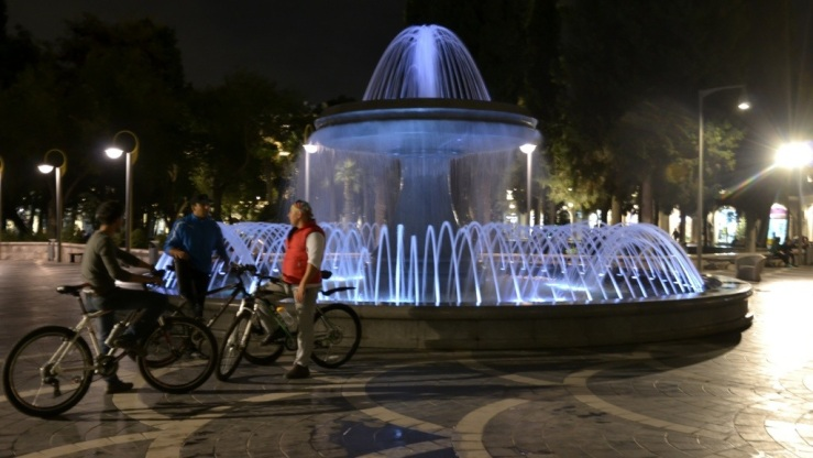 Baku Azerbaijan night-time, bicycles