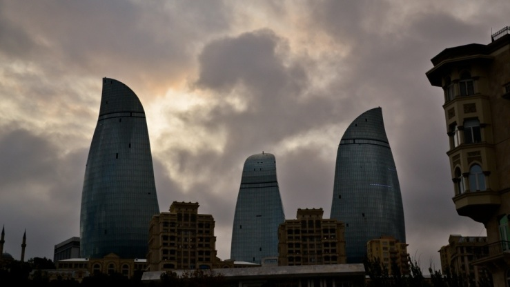Flame towers Baku Azerbaijan