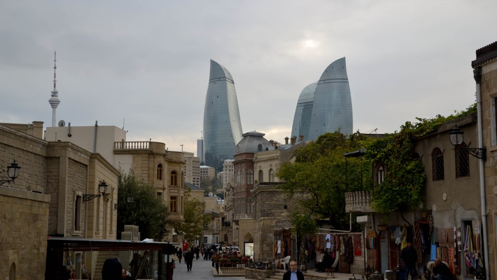 Baku Azerbaijan Old City Flame Towers