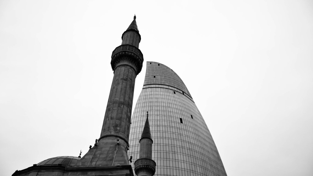 Mosque and flame towers Baku