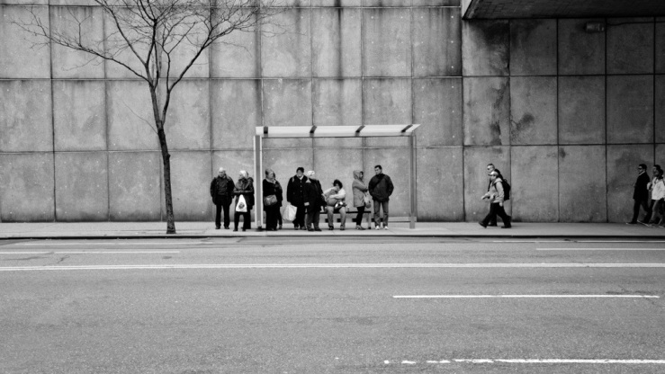New York City bus stop Manhattan